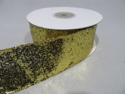 2 metres or Full 10 metre Roll 38mm Wired Gold Glitter Ribbon Sequin